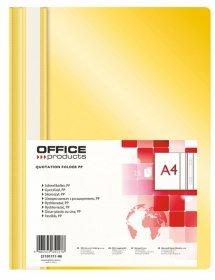 Skoroszyt plastikowy bez oczek Office Products, A4, do 200 kartek, żółty