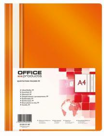 Skoroszyt plastikowy bez oczek Office Products, A4, do 200 kartek, pomarańczowy