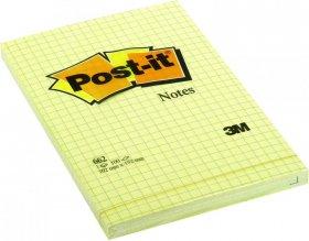 Notes samoprzylepny w kratkę Post-it, 102x152mm, 100 karteczek, żółty