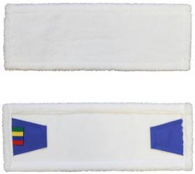 Mop płaski z zakładkami z mikrofazy Merida, 40cm, biały - końcówka