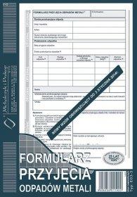 Druk akcedensowy Formularz przyjęcia odpadów metali MiP E03-3, A5, samokopiujący, 80k
