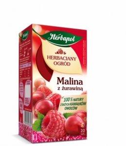 Herbata owocowa w torebkach Herbapol Herbaciany Ogród, malina i żurawina, 20 sztuk x 3g