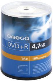 Płyta DVD+R Omega, do jednokrotnego zapisu, 4.7 GB, cake box, 100 sztuk