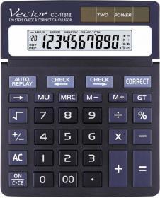 Kalkulator biurowy Vector, CD1181, 10 cyfr, czarny