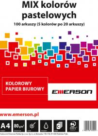Papier ksero Emerson, A4, 80g, 100 arkuszy, mix kolorów pastelowych
