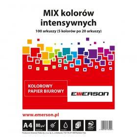 Papier ksero Emerson, A4, 80g/m2, 100 arkuszy, mix kolorów intensywnych 5x20 ark.