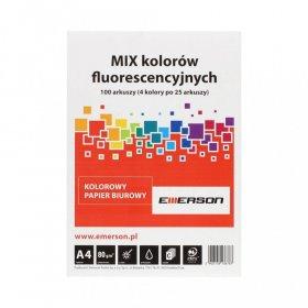 Papier ksero Emerson, A4, 80g/m2, 100 arkuszy, mix kolorów neonowych 4x25 ark.