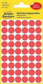 Etykiety Avery Zweckform, okrągłe, średnica 12mm, 270 sztuk, czerwony