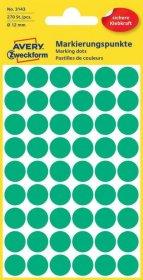 Etykiety Avery Zweckform, okrągłe, średnica 12mm, 270 sztuk, zielony