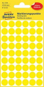 Etykiety Avery Zweckform, okrągłe, średnica 12mm, 270 sztuk, żółty