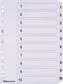 Przekładki kartonowe numeryczne Office Depot Mylar, A4, 1-10 kart, biały