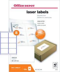 Etykiety adresowe Office Depot, 99x67.7mm, 100 arkuszy, biały