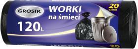 Worki na śmieci Grosik, HD, 120l, 20 sztuk, czarny