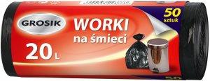 Worki na śmieci Grosik, HD, 20l, 50 sztuk, czarny