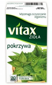 Herbata ziołowa w torebkach Vitax, pokrzywa, 20 sztuk x 1.5g