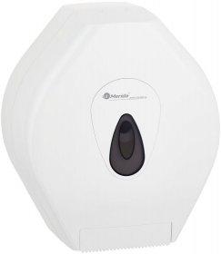 Dozownik do papieru toaletowego w roli Merida Top Maxi, z szarym okienkiem, zamykany na klucz, 32.5x28x14.5cm, biały