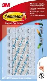 Haczyki do wieszania ozdób Command, 20 sztuk + 24 paski, transparentny