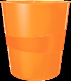 Kosz na śmieci Leitz WOW, 15L, pomarańczowy metalik