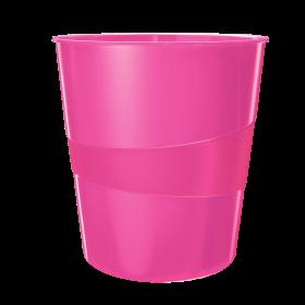 Kosz na śmieci Leitz Wow, 15L, różowy
