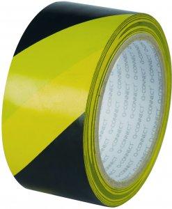 Taśma ostrzegawcza samoprzylepna Q-Connect, 48mmx20m, żółto-czarny
