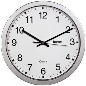 Zegar ścienny Hama CWA100, 30.5cm, tarcza biały, rama srebrny
