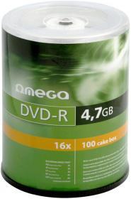Płyta DVD-R Omega, do jednokrotnego zapisu, 4.7 GB, cake box, 100 sztuk