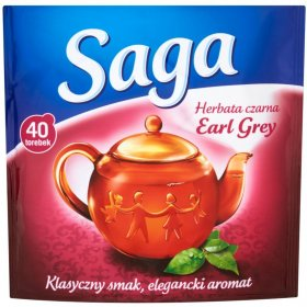 Herbata Earl Grey czarna w torebkach Saga, 40 sztuk x 1.5g