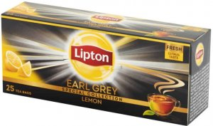 Herbata Earl Grey czarna smakowa w torebkach Lipton, cytryna, 25 sztuk x 2g