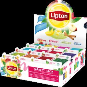 Herbata czarna smakowa w kopertach Lipton Variety Pack, 12 smaków x 15 kopert