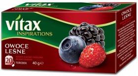 Herbata owocowa w torebkach Vitax Inspirations, owoce leśne, 20 sztuk x 2g