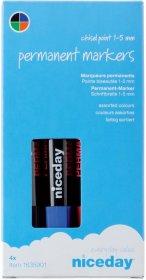 Marker permanentny Niceday, okrągła, 4 sztuki, 2mm, mix kolorów