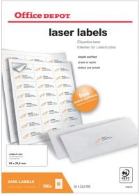 Etykiety do drukarek laserowych Office Depot 63.5 x 33.8 mm 100 ark.