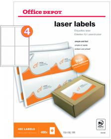Etykiety do drukarek laserowych Office Depot, 99x139mm, 100 arkuszy, biały