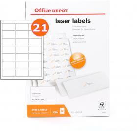 Etykiety do drukarek laserowych Office Depot, 63.5x38.1mm, 100 arkuszy, biały