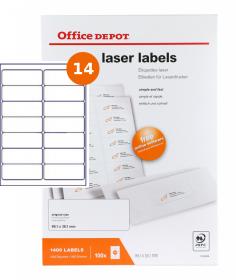 Etykiety do drukarek laserowych Office Depot, 99x38.1mm, 100 arkuszy, biały