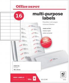 Etykiety uniwersalne Office Depot, 105x35mm, 100 arkuszy, biały