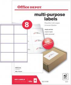 Etykiety uniwersalne Office Depot, 105x70mm, 100 arkuszy, biały