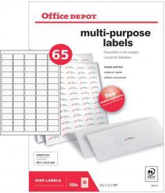 Etykiety uniwersalne Office Depot, 38.1x21.1mm, 100 arkuszy, biały