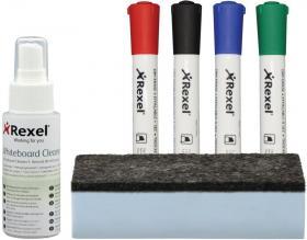 Zestaw startowy do tablic Rexel, środek czyszczący, gąbka niemagnetyczna, 4 markery