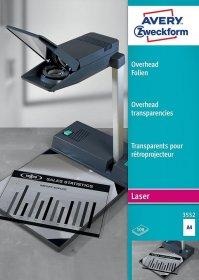 Folia do rzutnika Avery Zweckform 3552, do czarno-białych drukarek laserowych i kopiarek, A4, 100 arkuszy, przezroczysty