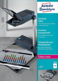Folia do rzutnika Avery Zweckform 3560, do kolorowych drukarek laserowych i kopiarek, A4, 50 arkuszy