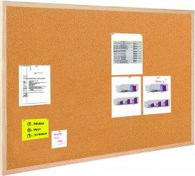 Tablica korkowa BI-OFFICE, w ramie drewnianej, 90x60cm, brązowy