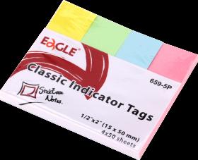 Zakładki samoprzylepne Eagle proste, indeksujące, papier, 15x50mm, 4x50 sztuk, mix kolorów