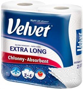 Ręcznik papierowy Velvet Extra Long, 2-warstwowy, 2x19.8m, w roli, 2 rolki, biały