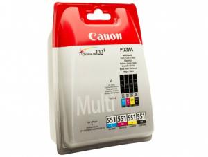 Tusz Canon 6509B008 (CLI-551), 4x350 stron, CMYK cyan (błękitny), magenta (purpurowy), yellow (żółty), black (czarny)
