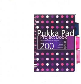 Kołonotatnik z przekładkami Pukka Pad Project Book Dots, A5, w kratkę, 200 kartek, mix wzorów