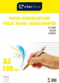 Papier kancelaryjny Interdruk, A3, w linie, 100 arkuszy