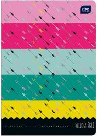 Zeszyt w kolorowe wąskie linie Interdruk, A5, miękka oprawa, 32 kartki, mix wzorów
