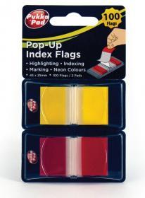 Zakładki samoprzylepne Pukka Pads proste, indeksujące, folia, półtransparentne, 45x25mm, 2x50 sztuk, mix kolorów