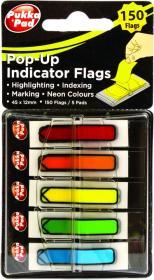 Zakładki samoprzylepne Pukka Pads strzałki, indeksujące, folia, transparentne, 45x12mm, 5x30 sztuk, mix kolorów